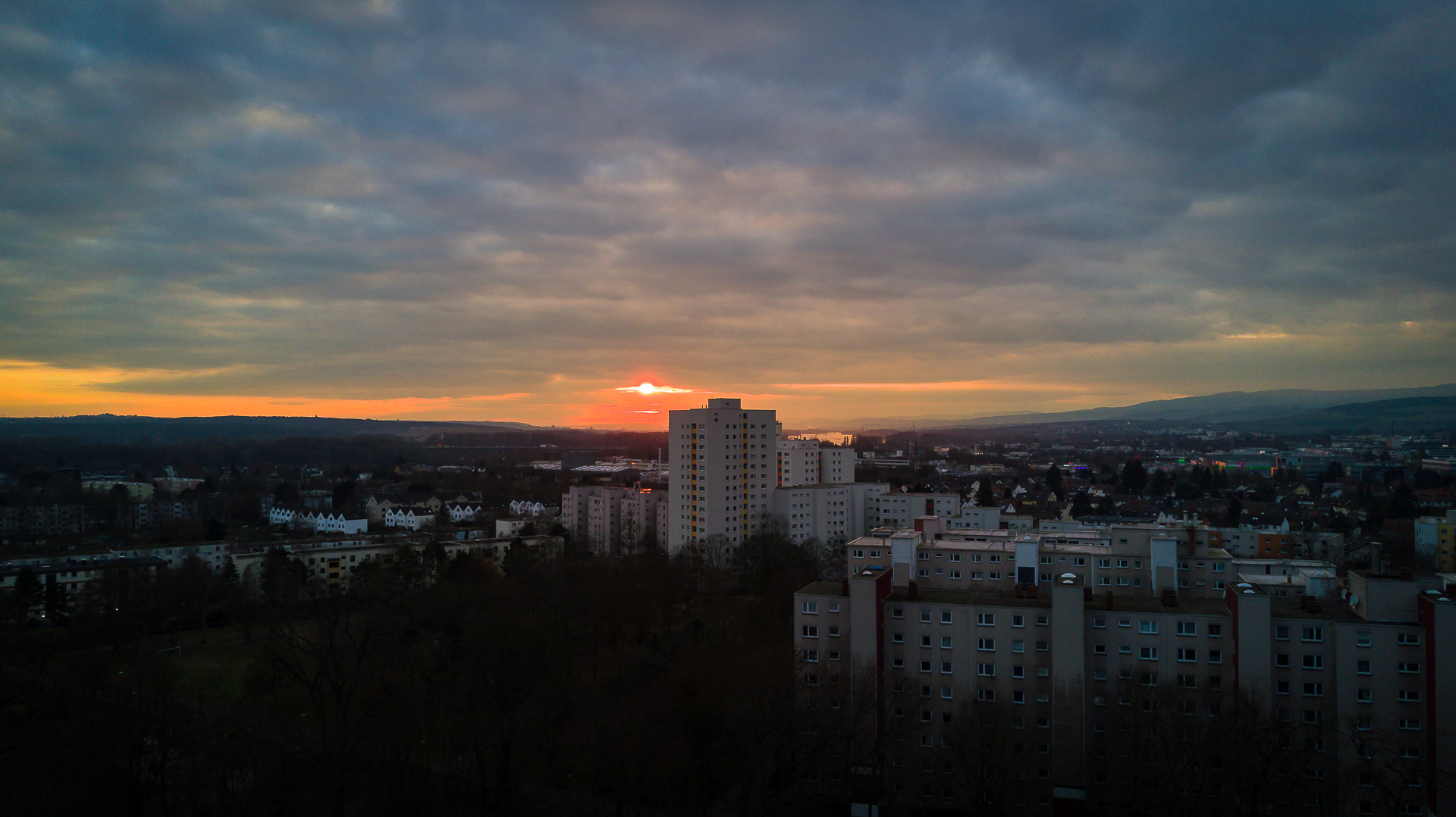 Sunset behind the City